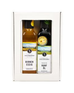 Bio Geschenkbox Hanf Öl und Birnen Essig 2x250ml