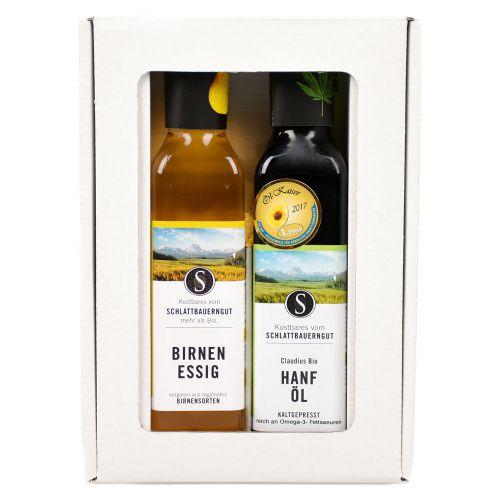Bio Geschenkbox Hanf Öl & Birnen Essig 2x250ml